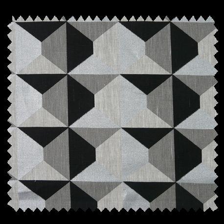 Tissu Lin Geometrik Noir Et Argent