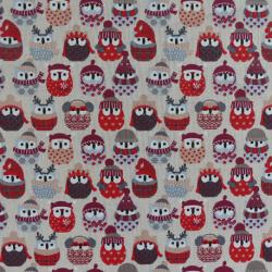 Tissu Hiboux de Neige Cretonne coloris Lin et rouge