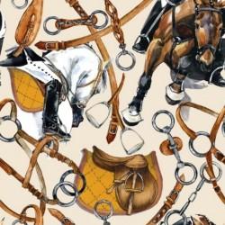 Tissu Horse 1 Digital Moutarde