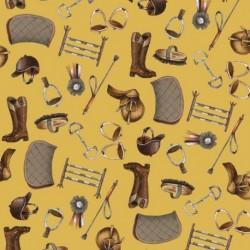 Tissu Horse 2 Digital Moutarde