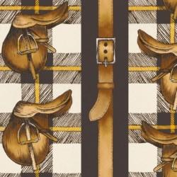 Tissu Horse 4 Digital Moutarde