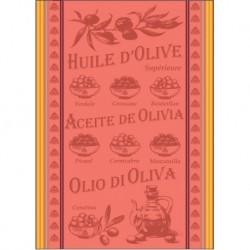 Torchon Jacquard Huile D'olive Corail