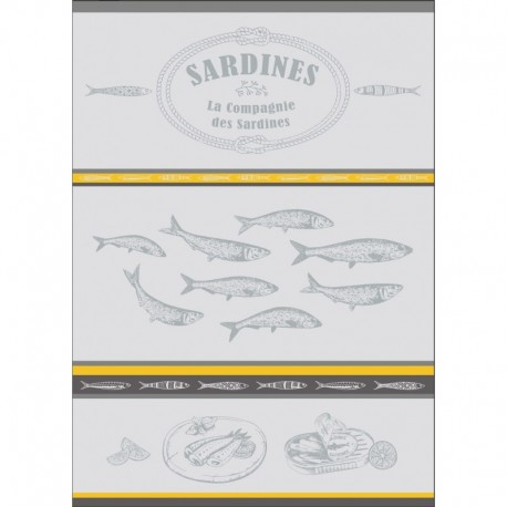 Torchon Jacquard Sardine Gris