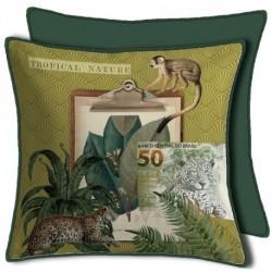 Housse de Coussin Curiosite Vert Singe panthere 50x50 cm
