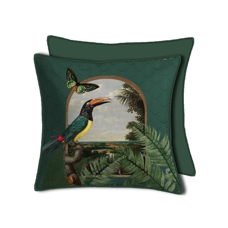 Housse de Coussin Curiosite Vert Toucan 50x50 cm