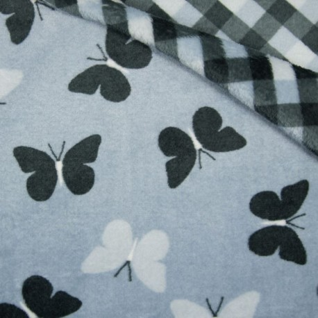 Tissu Polaire Microfibre Double Face Papillon carreaux Bleu Clair