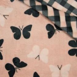 Tissu Polaire Microfibre Double Face Papillon carreaux Rose Clair