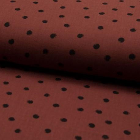 Tissu Double Gaze Imprimé Pois Terracotta