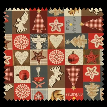 Tissu Coton De Noël Imprimé Patchwork