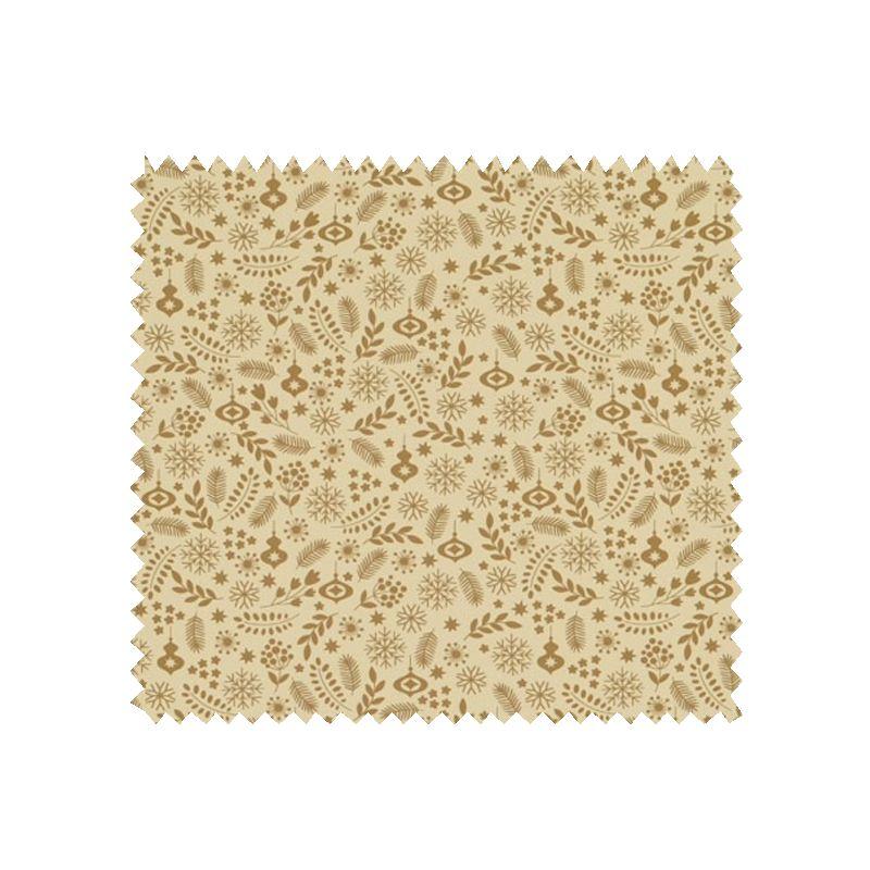 Tissu Coton De Noël Imprimé Fond Beige