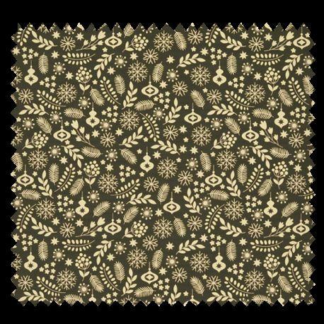 Tissu Coton De Noël Imprimé Fond Noir