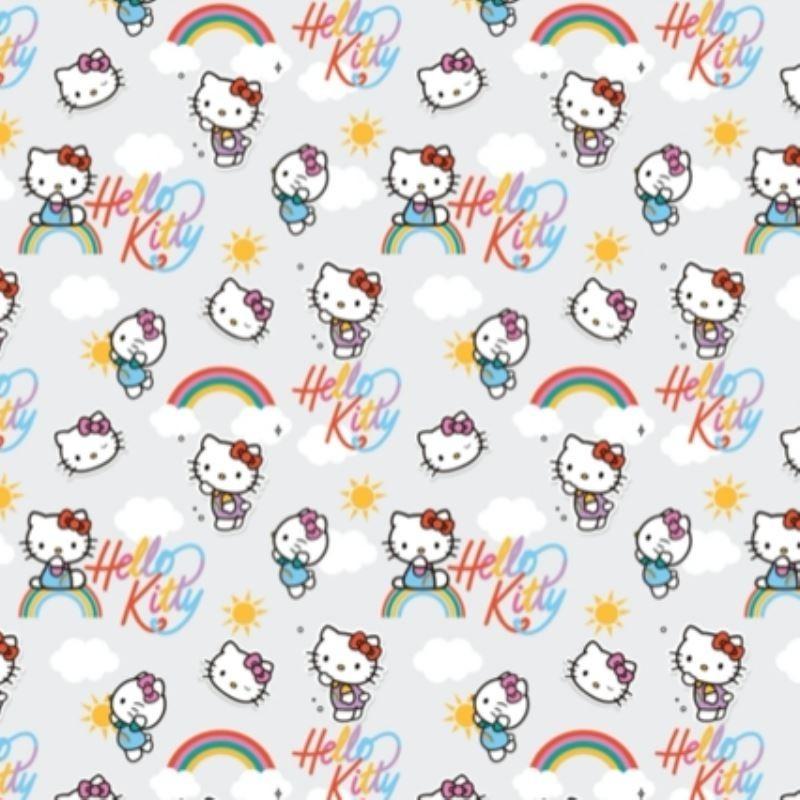 Tissu Popeline Hello Kitty Imprimé Gris
