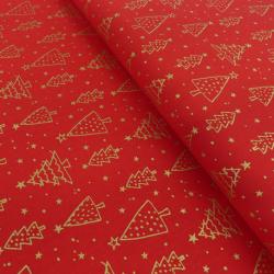 Tissu Doré Imprimé Noël sapin Fond Rouge