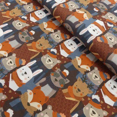 Tissu Kodiak Imprimé Animaux Noël