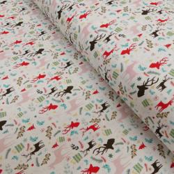 Tissu Coton Imprimé Digital Cerf cadeau