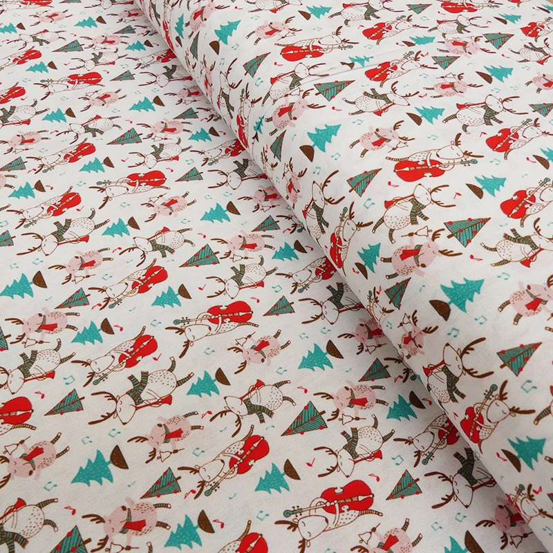 Tissu Coton Imprimé Digital Christmas Spirit