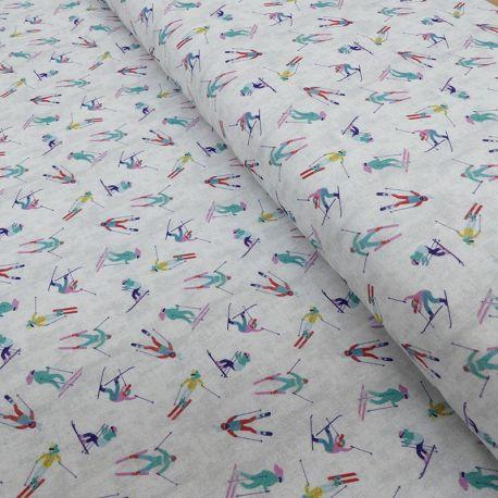 Tissu Coton Imprimé Digital Les Alpes Skis
