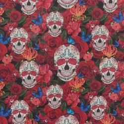 Tissu Cretonne Roses Imprimé Multicolore