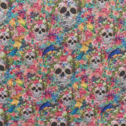 Tissu Cretonne Perruches Imprimé Multicolore