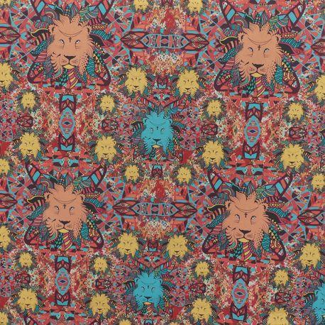 Tissu Cretonne Lions Imprimé Multicolore