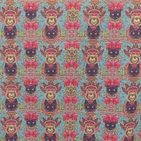 Tissu Cretonne Chats Imprimé Multicolore