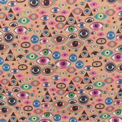 Tissu Cretonne Oeil Imprimé Multicolore