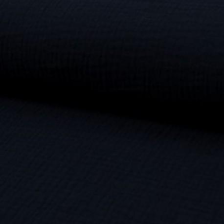 Tissu Double Gaze Uni Marine