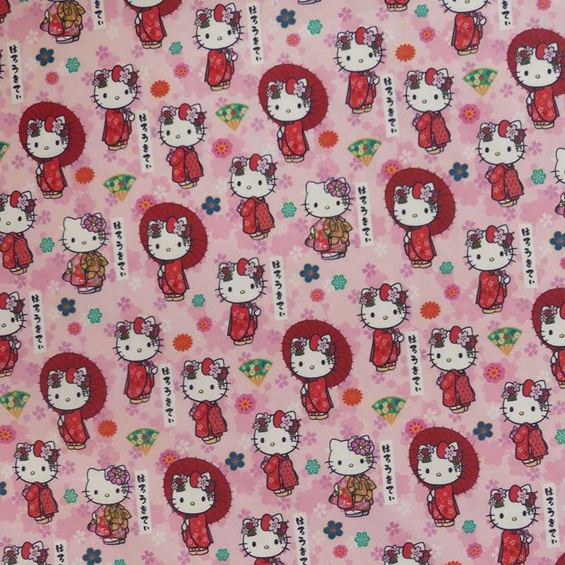 Tissu Popeline Hello Kitty Imprimé Rose