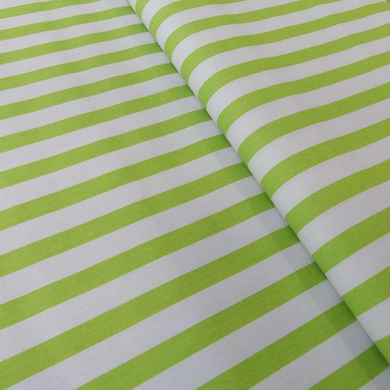 Tissu Rayé Anis Blanc