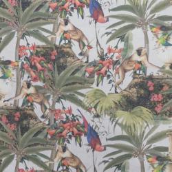 Tissu Demi Panama Imprimé Singe et Oiseau