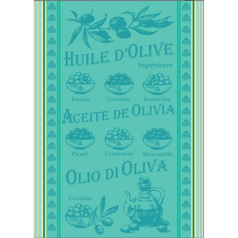 Torchon Jacquard Huile D'olive Lagon