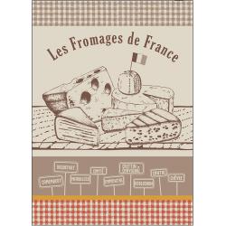 Torchon Jacquard Fromages de France Noisette