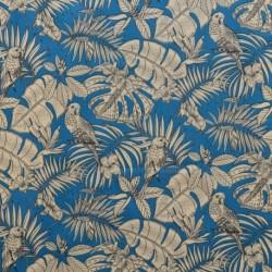 Tissu India Toile Coton Imprimée Bleu Paon