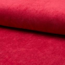 Tissu Velours milleraies Uni Rouge
