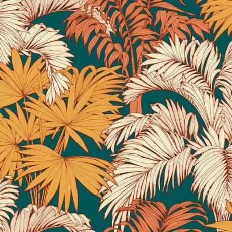 Tissu Coco Bachette Orange Fond Vert