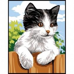 Kit Canevas Enfant Chat Noir blanc