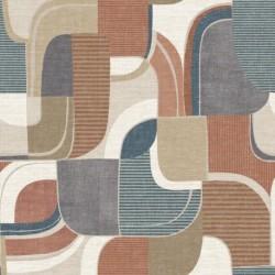 Tissu Bauhaus Digital Terracotta