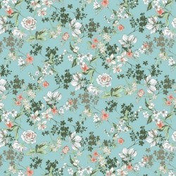 Tissu Anais Popeline Imprimé Turquoise