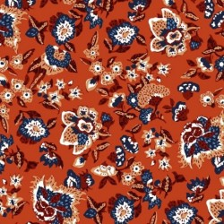 Tissu Boho Popeline Imprimé Terracotta