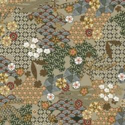 Tissu Yin Popeline Imprimé Kaki