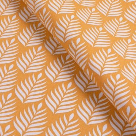 Tissu Popeline Imprimé Assam Ocre
