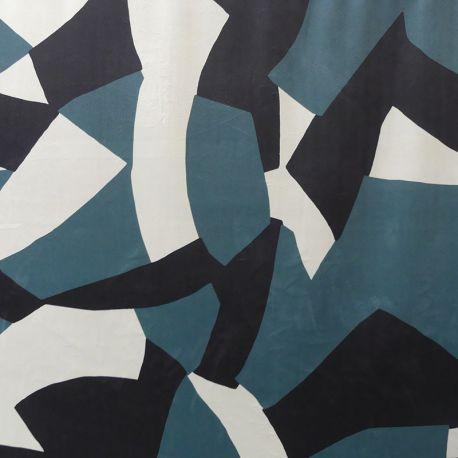 Tissu Camo Velours Bleu