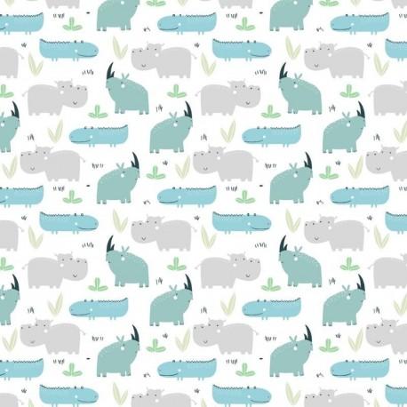 Tissu Rhino Imprimé Aqua