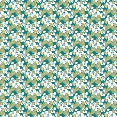 Tissu Carlota Imprimé Turquoise