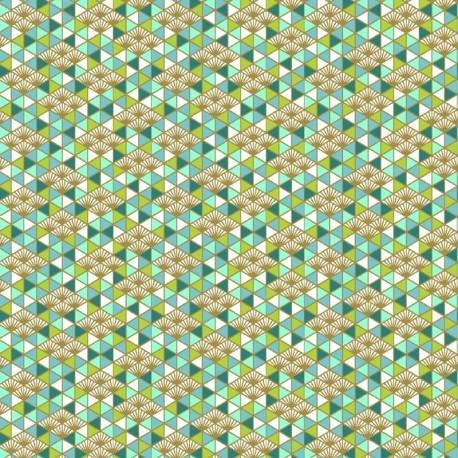 Tissu Nippon Imprimé Turquoise