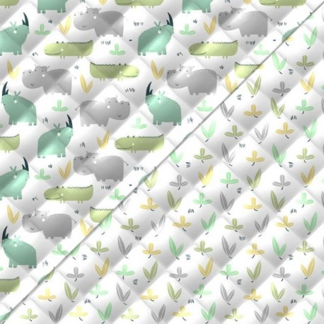 Tissu Rhino Matelassé Vert