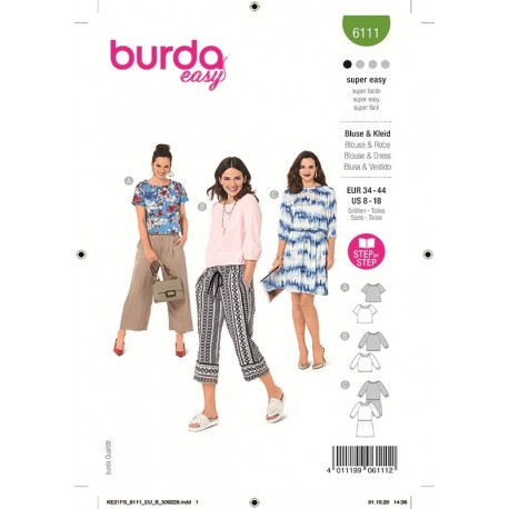 Patron Burda 6111 Blouse 34/44