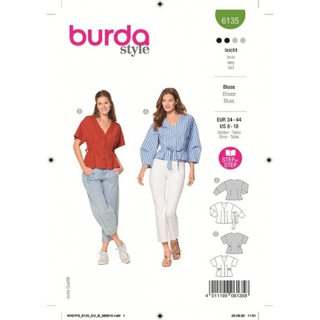 Patron Burda 6135 Blouse 34/44