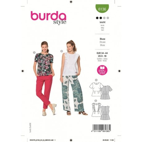 Patron Burda 6136 Blouse 34/44