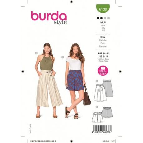 Patron Burda 6138 Jupe Culotte/short 34/44
